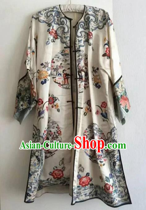 Chinese Traditional Costume Tang Suit Embroidered Blouse National White Silk Coat for Women
