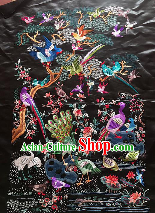 Chinese Traditional Handmade Embroidery Craft Embroidered Peacock Birds Silk Patches Embroidering Accessories
