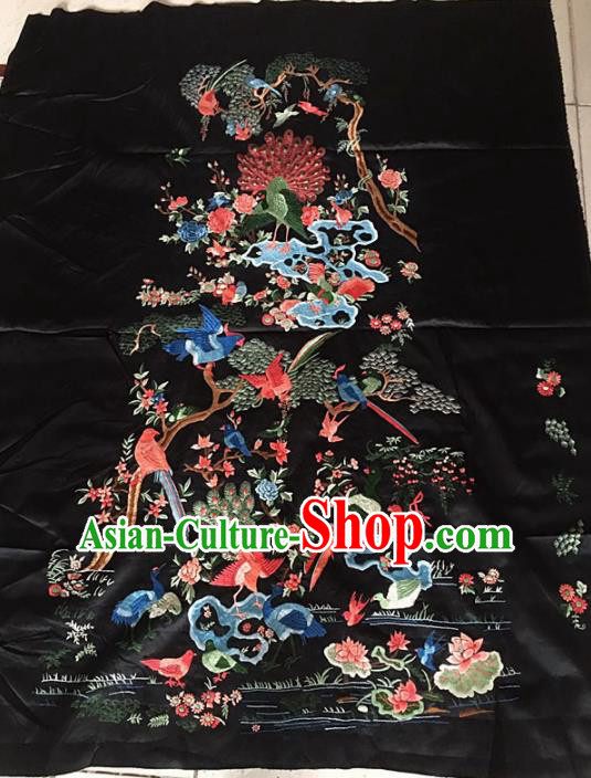 Chinese Traditional Handmade Embroidery Craft Embroidered Birds Silk Patches Embroidering Accessories