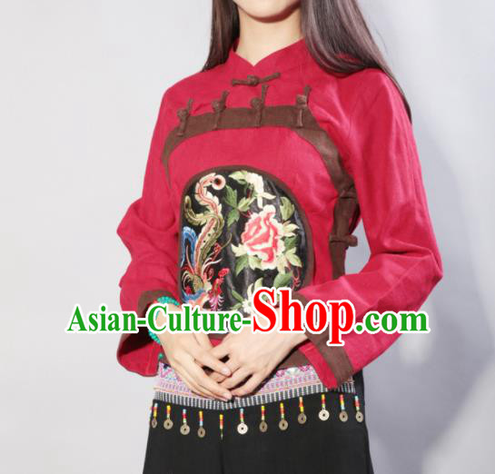 Chinese Traditional Costume Tang Suit Embroidered Blouse National Qipao Shirts for Women