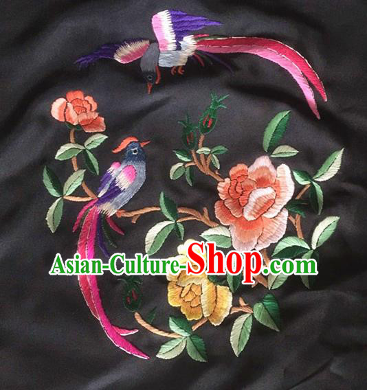 Chinese Traditional Handmade Embroidery Craft Embroidered Peony Birds Silk Patches