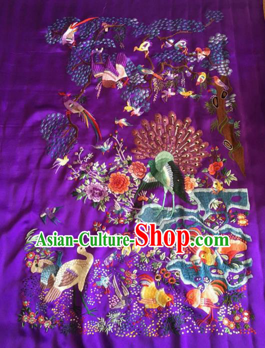 Chinese Traditional Handmade Embroidery Craft Embroidered Birds Purple Silk Patches
