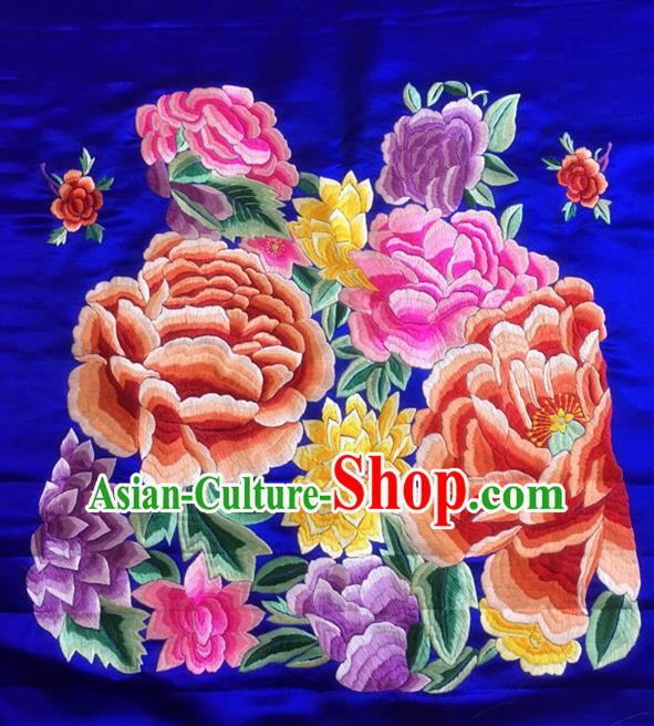 Chinese Traditional Embroidered Peony Flowers Silk Patches Handmade Embroidery Craft