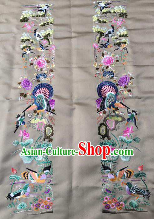 Asian Chinese Traditional Embroidered Mandarin Duck Lotus Silk Patches Handmade Embroidery Craft