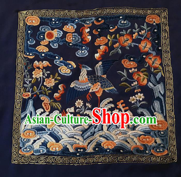 Asian Chinese Traditional Embroidered Crane Navy Silk Patches Handmade Embroidery Craft