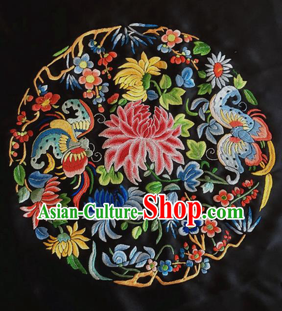 Asian Chinese Traditional Embroidered Chrysanthemum Silk Patches Handmade Embroidery Craft