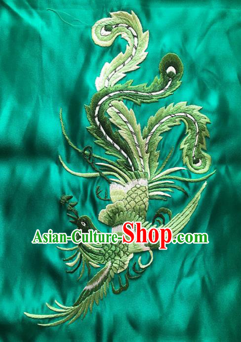Asian Chinese Traditional Embroidered Phoenix Green Silk Patches Handmade Embroidery Craft