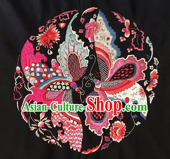 Asian Chinese Traditional Embroidered Butterfly Silk Patches Handmade Embroidery Craft