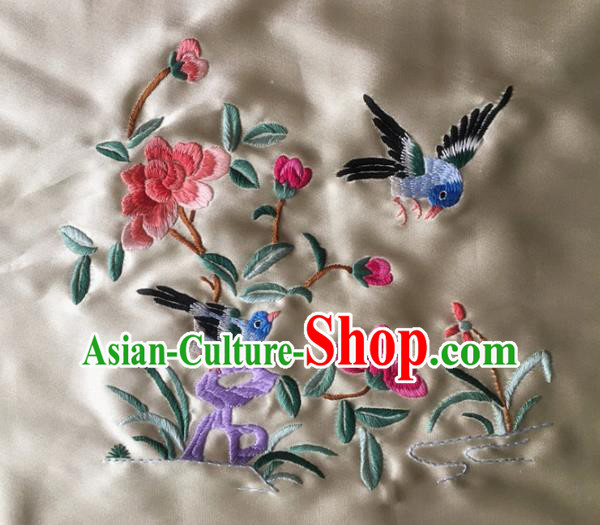 Asian Chinese Traditional Embroidered Flowers Silk Patches Handmade Embroidery Craft