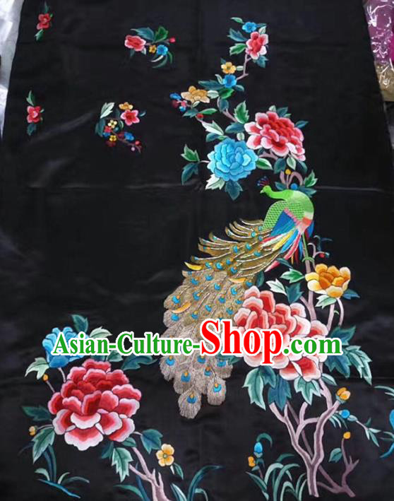 Asian Chinese Traditional Embroidered Peony Peacock Silk Patches Handmade Embroidery Craft