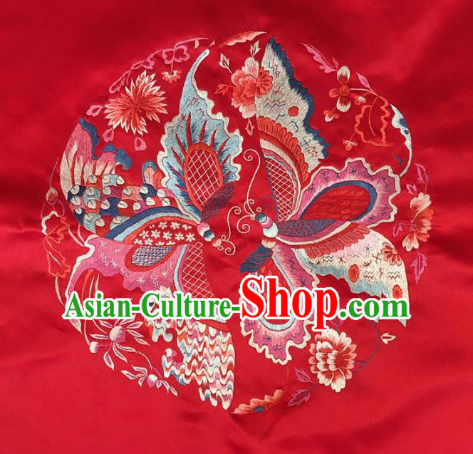 Asian Chinese Traditional Embroidered Butterfly Red Silk Patches Handmade Embroidery Craft