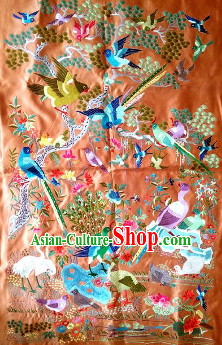 Asian Chinese Traditional Embroidered Flowers Birds Silk Patches Handmade Embroidery Craft