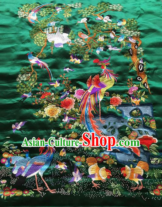 Asian Chinese Traditional Embroidered Peacock Birds Green Silk Patches Handmade Embroidery Craft