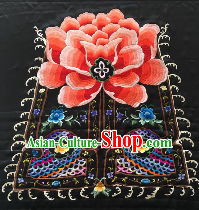 Asian Chinese Traditional Embroidered Peony Silk Patches Handmade Embroidery Craft