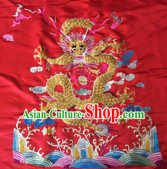 Asian Chinese Traditional Embroidered Dragon Red Silk Patches Handmade Embroidery Craft