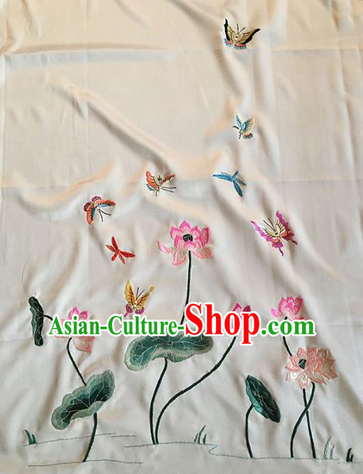Asian Chinese Traditional Embroidered Dragonfly Lotus Silk Patches Handmade Embroidery Craft