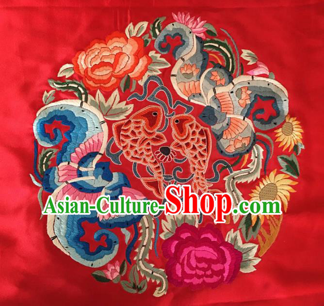 Asian Chinese Traditional Embroidered Lotus Peony Red Silk Patches Handmade Embroidery Craft