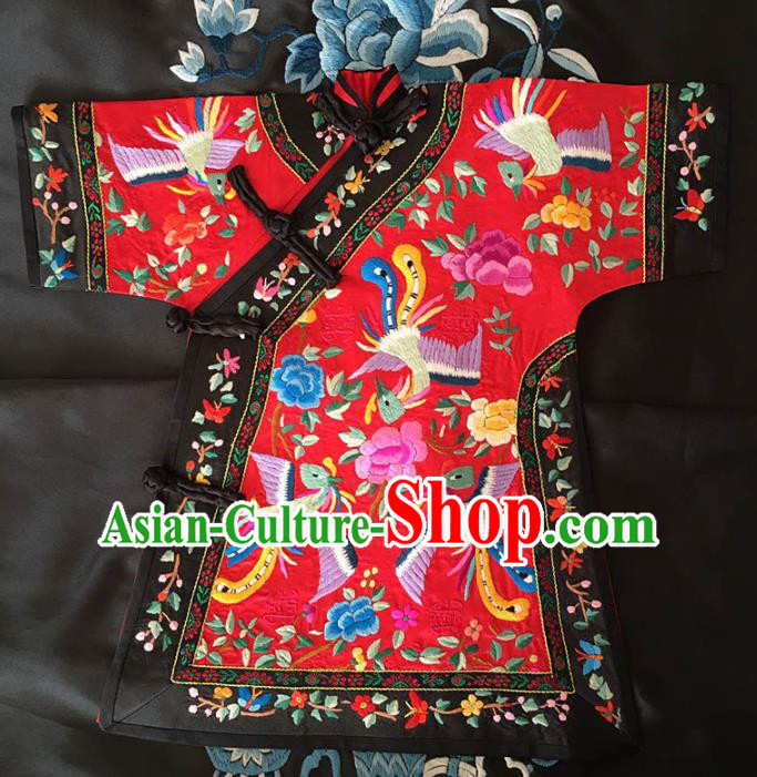 Chinese Traditional Silk Costume Tang Suit Embroidered Phoenix Peony Red Silk Blouse for Kids