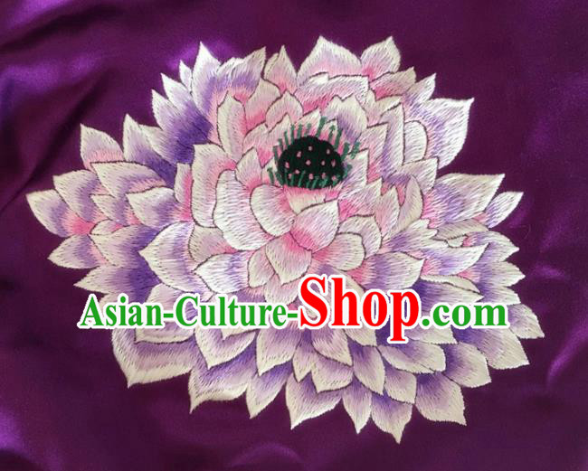 Asian Chinese Traditional Embroidered Lotus Purple Silk Patches Handmade Embroidery Craft