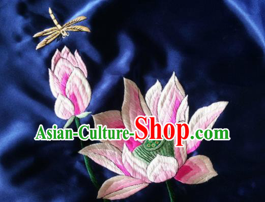 Asian Chinese Traditional Embroidered Lotus Navy Silk Patches Handmade Embroidery Craft