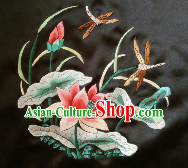 Asian Chinese Traditional Embroidered Red Lotus Silk Patches Handmade Embroidery Craft