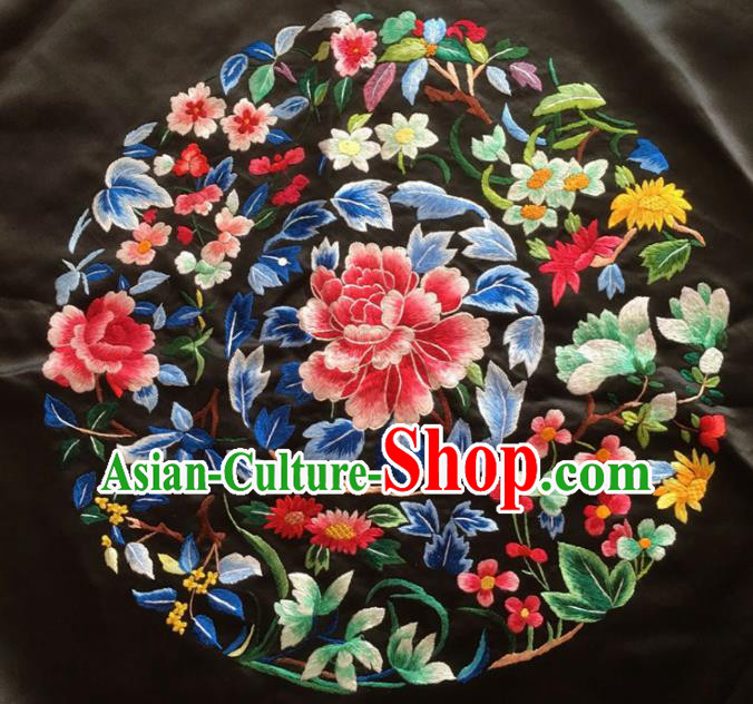 Asian Chinese Traditional Embroidered Peony Black Silk Patches Handmade Embroidery Craft