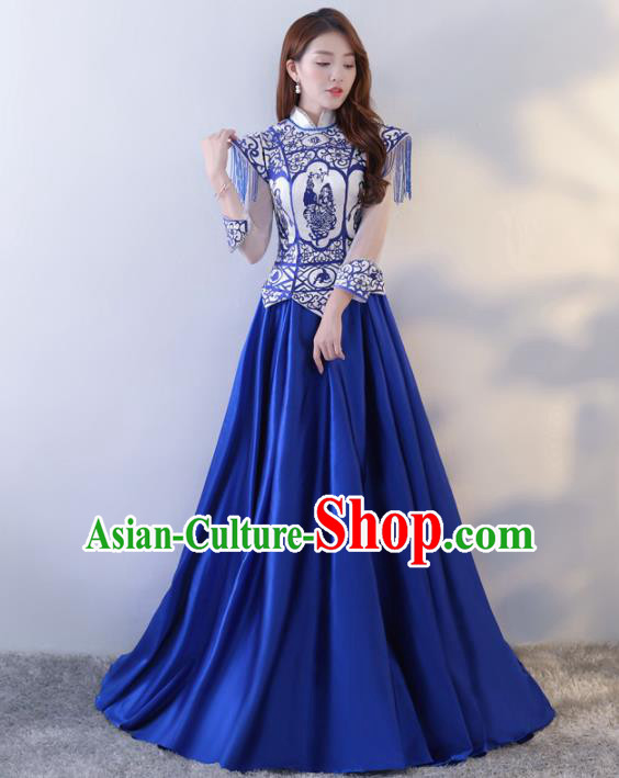 Chinese Traditional Costumes Elegant Cheongsam Full Dress for Women