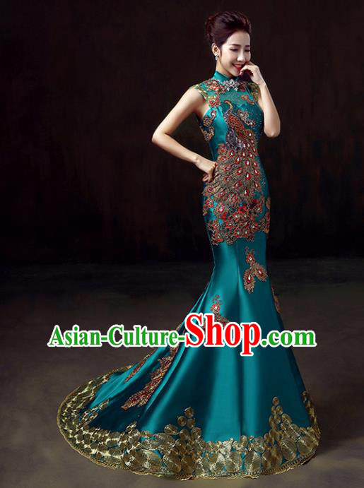 Chinese Traditional Costumes Elegant Embroidered Peacock Cheongsam Full Dress for Women
