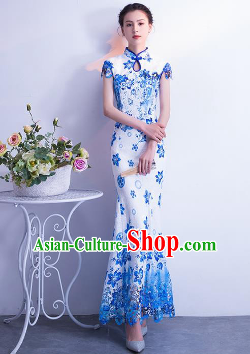 Chinese Traditional Blue Cheongsam Mermaid Qipao Dress Elegant Compere Full Dress for Women