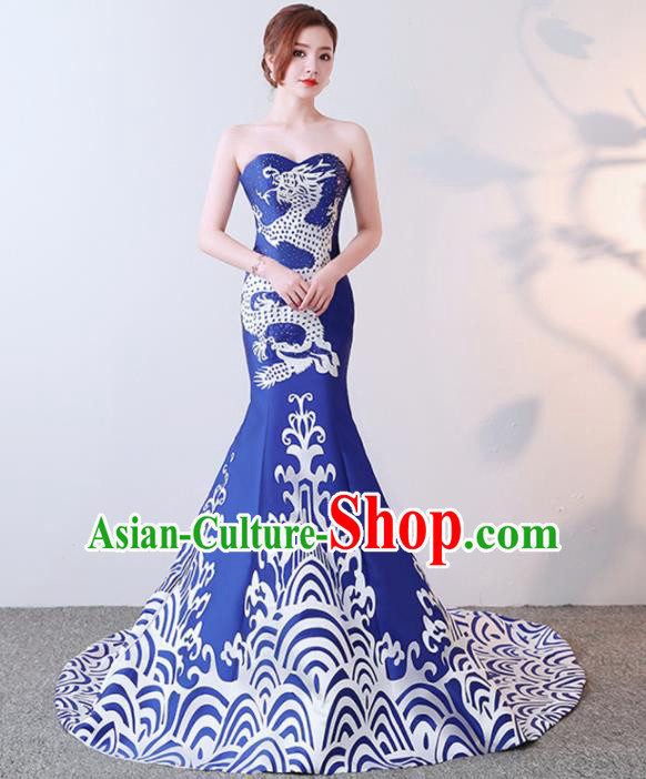 Chinese Traditional Trailing Qipao Dress Elegant Compere Blue Full Dress for Women
