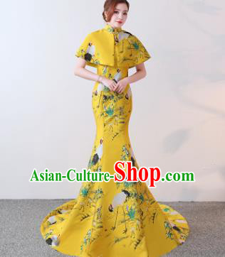 Chinese Traditional Trailing Yellow Qipao Dress Elegant Compere Full Dress for Women