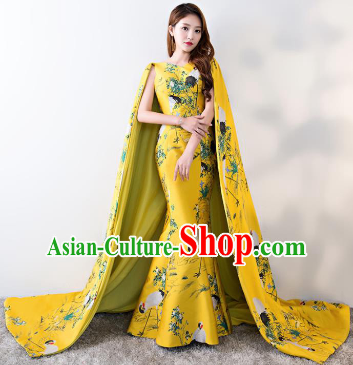 Chinese Traditional Trailing Yellow Mermaid Qipao Dress Elegant Compere Full Dress for Women