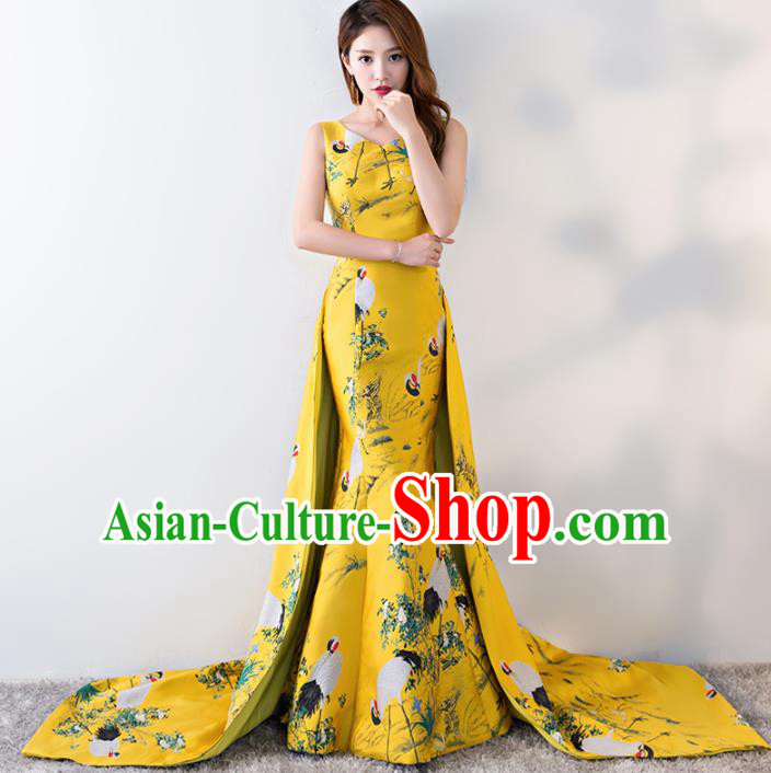Chinese Traditional Printing Crane Yellow Qipao Dress Elegant Compere Full Dress for Women