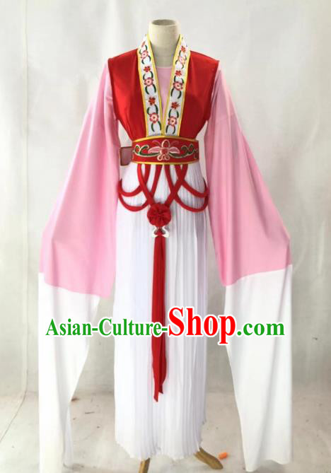 Chinese Traditional Peking Opera Actress Court Lady Red Dress Ancient Palace Maid Costume for Women