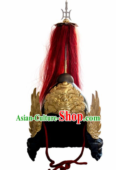 Chinese Traditional Helmet Hanfu Headwear Ancient Ming Dynasty General Hat for Men