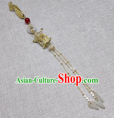 Chinese Traditional Hanfu Palace Golden Tassel Brooch Accessories Ancient Qing Dynasty Queen Breastpin Pendant for Women