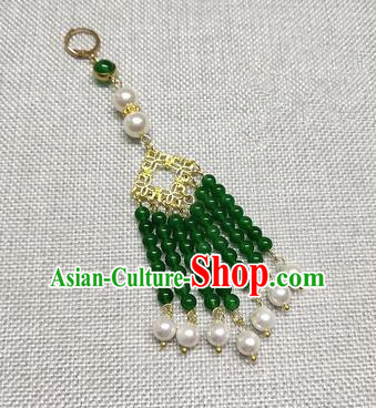 Chinese Traditional Hanfu Green Beads Tassel Brooch Accessories Ancient Qing Dynasty Queen Breastpin Pendant for Women