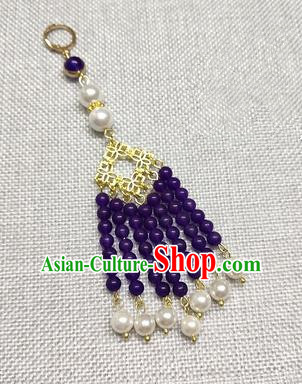 Chinese Traditional Hanfu Purple Beads Tassel Brooch Accessories Ancient Qing Dynasty Queen Breastpin Pendant for Women