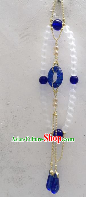 Chinese Traditional Palace Hanfu Royalblue Grass Brooch Accessories Ancient Qing Dynasty Queen Breastpin Pendant for Women