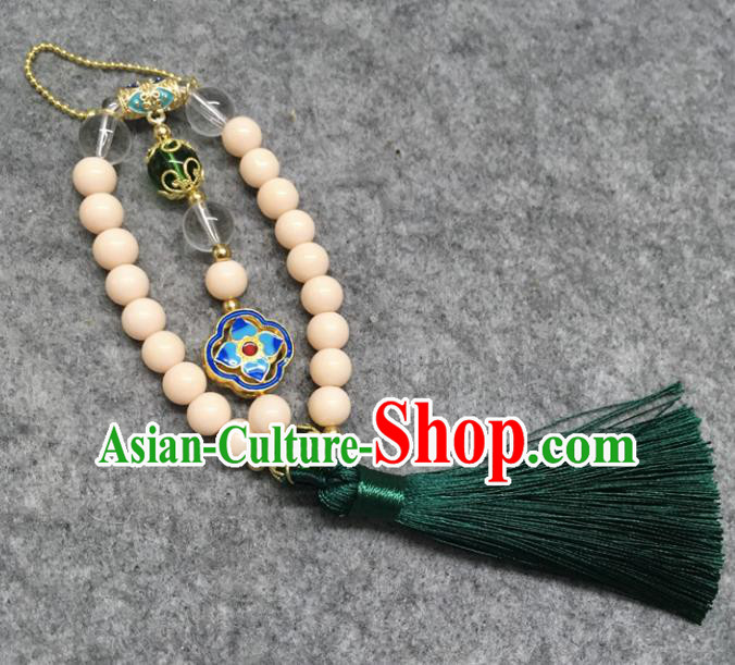 Chinese Traditional Palace Hanfu Beige Beads Brooch Accessories Ancient Qing Dynasty Queen Breastpin Pendant for Women