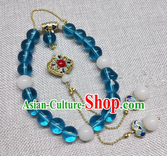 Chinese Traditional Palace Blue Beads Brooch Accessories Ancient Qing Dynasty Queen Breastpin Hanfu Pendant for Women