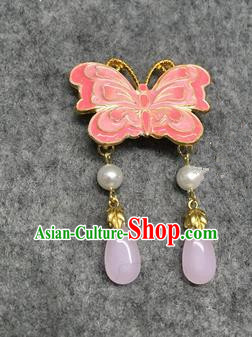 Chinese Traditional Hanfu Pendant Accessories Palace Pink Butterfly Brooch Ancient Qing Dynasty Queen Breastpin for Women