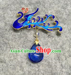Chinese Traditional Hanfu Pendant Accessories Palace Blue Phoenix Brooch Ancient Qing Dynasty Queen Breastpin for Women
