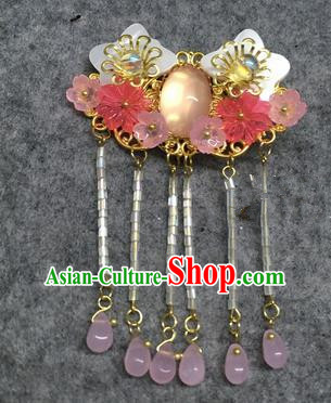 Chinese Traditional Hanfu Pendant Accessories Pink Plum Brooch Ancient Qing Dynasty Queen Breastpin for Women