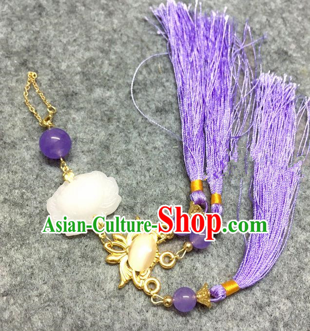 Chinese Traditional Hanfu Brooch Accessories Purple Tassel Lotus Pendant Ancient Qing Dynasty Queen Breastpin for Women