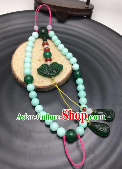 Chinese Traditional Hanfu Green Beads Breastpin Accessories Ancient Qing Dynasty Imperial Consort Brooch Pendant for Women