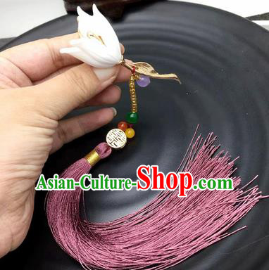 Chinese Traditional Hanfu Lily Flower Breastpin Accessories Ancient Qing Dynasty Imperial Consort Brooch Pendant for Women