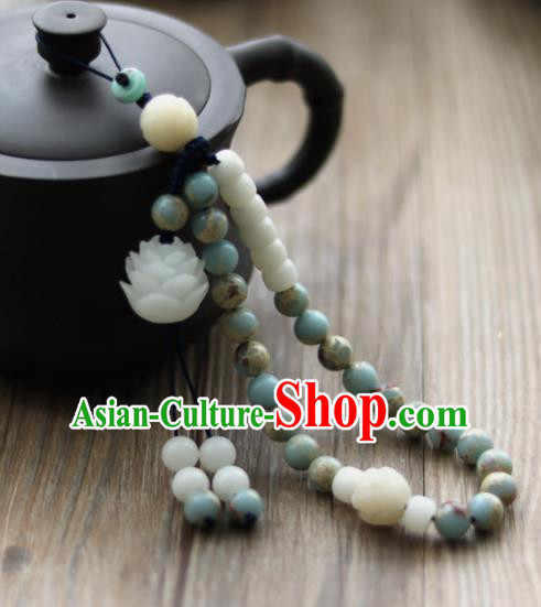 Chinese Traditional Hanfu Blue Beads Lotus Brooch Pendant Ancient Cheongsam Breastpin Accessories for Women