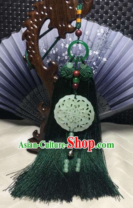 Traditional Chinese Hanfu Jade Carving Bats Waist Accessories Green Tassel Pendant Ancient Swordsman Brooch