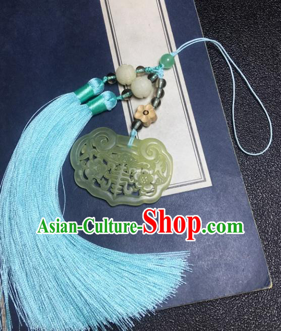 Traditional Chinese Hanfu Jade Carving Plum Waist Accessories Blue Tassel Pendant Ancient Swordsman Brooch